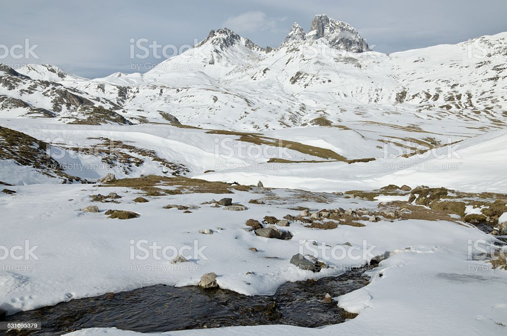 Pic du midi d'Ossau in winter from Portalet col stock photo