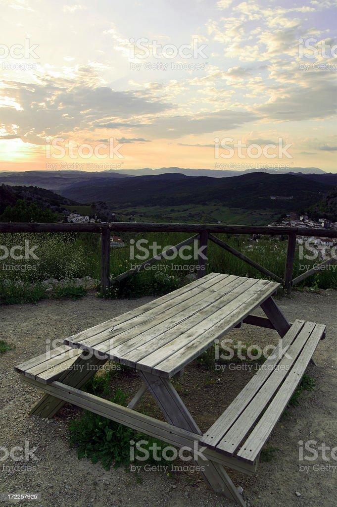 Pic Nic Sunrise Table stock photo