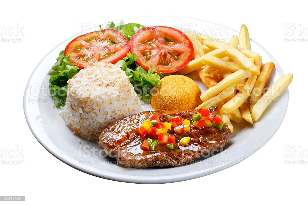 picanha potato with rice stock photo