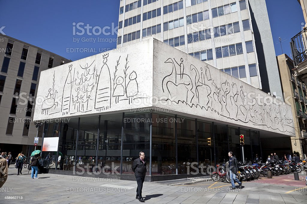 Picasso drawings reproduced on Barcelona building stock photo