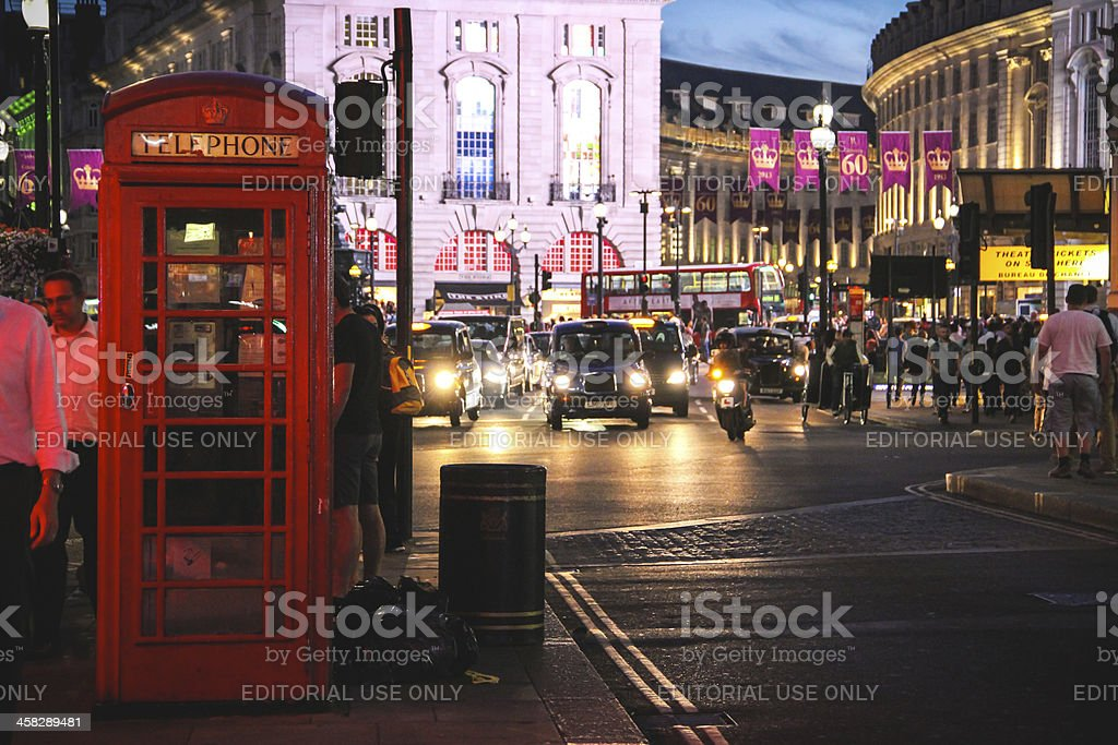 Piccadilly Circus at night, London royalty-free stock photo