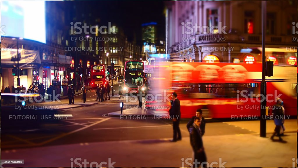 Piccadilly Circus at night (tilt-shift) stock photo