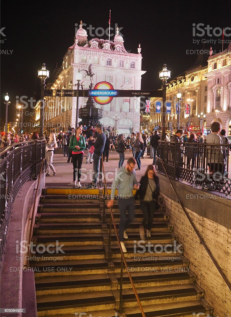 Piccadilly Circus at night, steps to Underground station stock photo