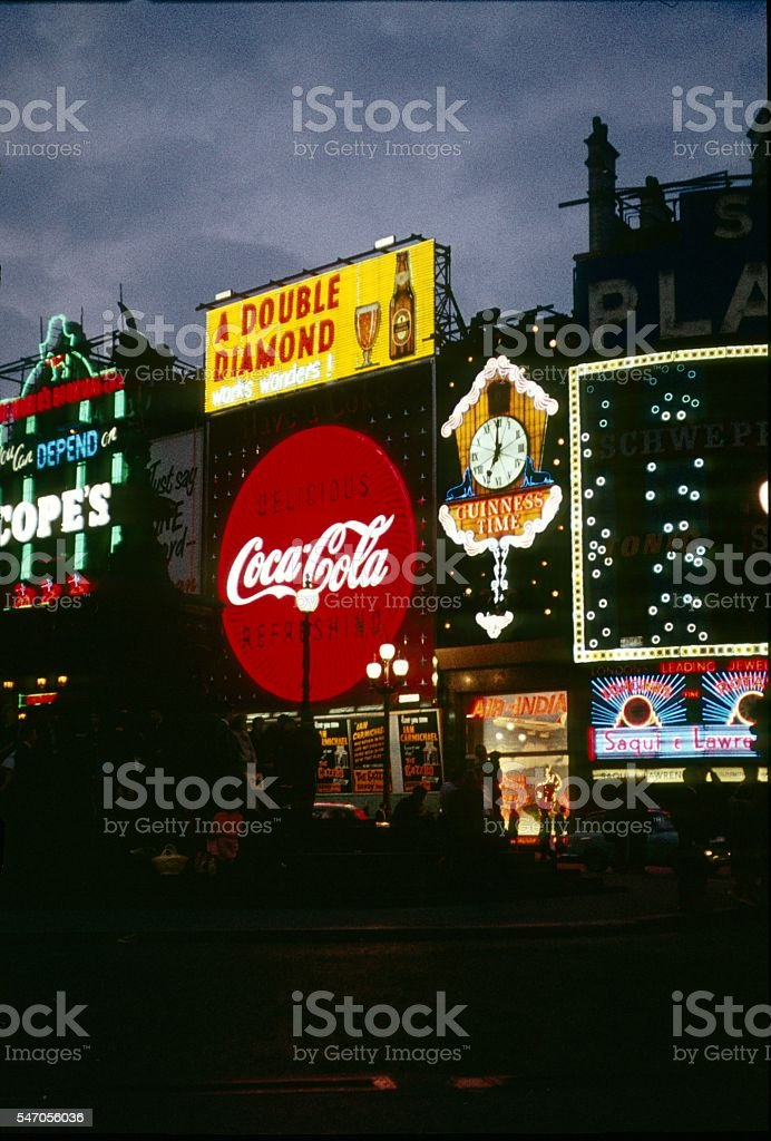 Piccadilly Circus at twilight, London 1975 stock photo