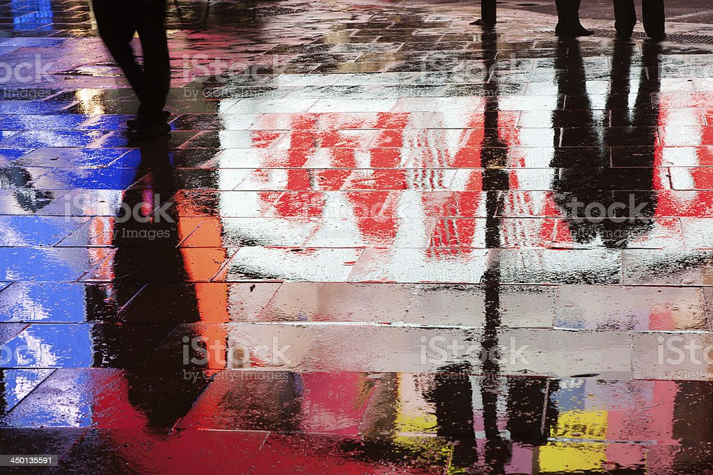 Piccadilly Circus Billboard reflections stock photo