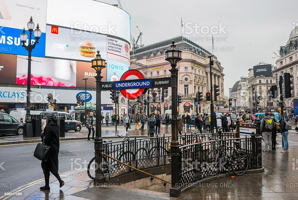 Piccadilly Circus entrance/exit to the underground stock photo
