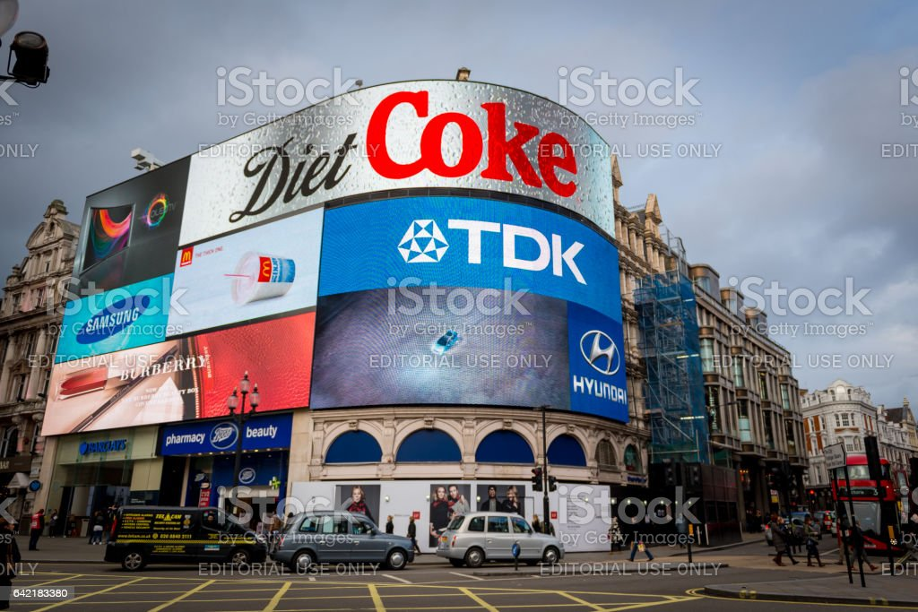 Piccadilly Circus in Jan 2014 stock photo
