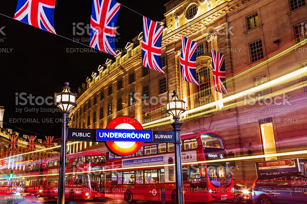 Piccadilly Circus in London, UK, at night stock photo