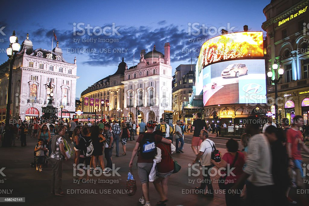 Piccadilly Circus in the evening, London stock photo