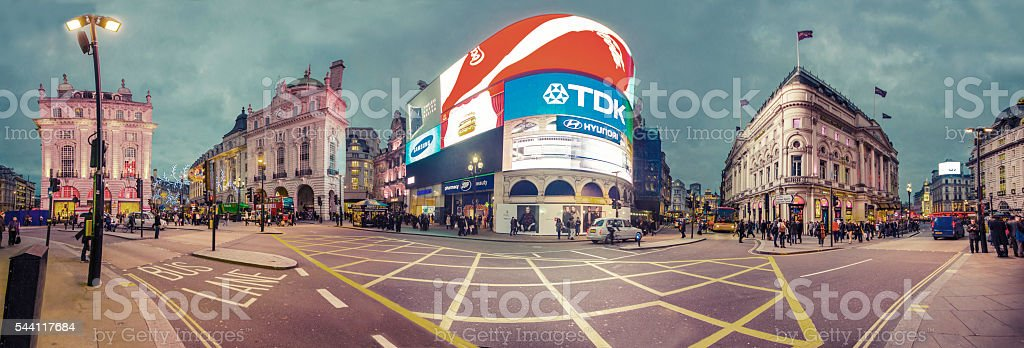 Piccadilly Circus neon signage, major attraction of London stock photo