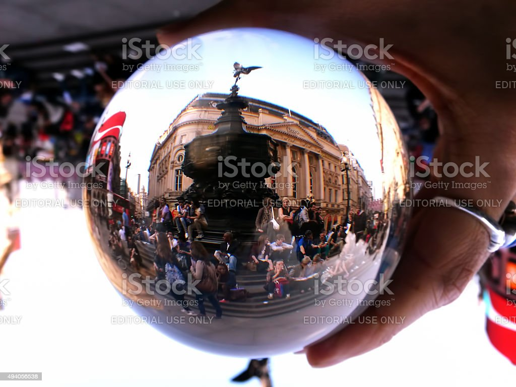 Piccadilly Circus through a Crystal Ball stock photo