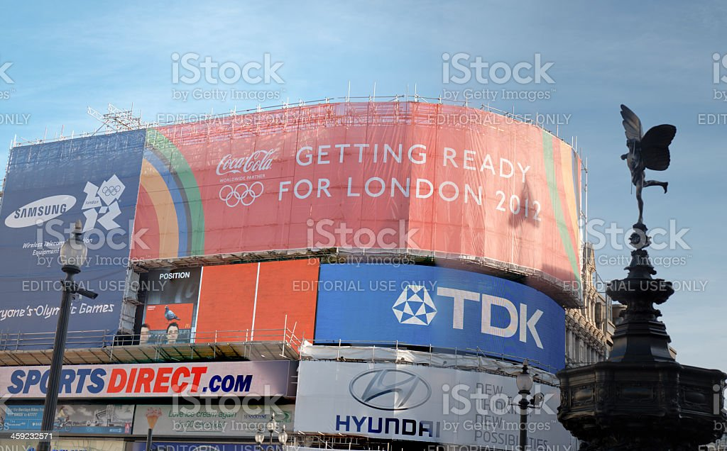 Piccadilly Circus view in London with 2012 olympic games advertise royalty-free stock photo