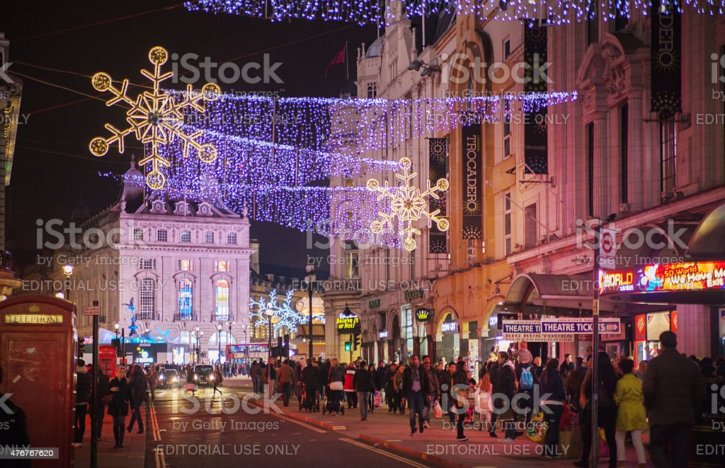 Piccadilly circus with Christmas lights, London stock photo