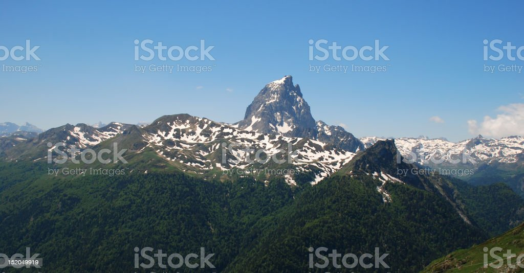 Pic-Du-Midi D'Ossau the most beutiful mountain of Atlantic Pirenees stock photo