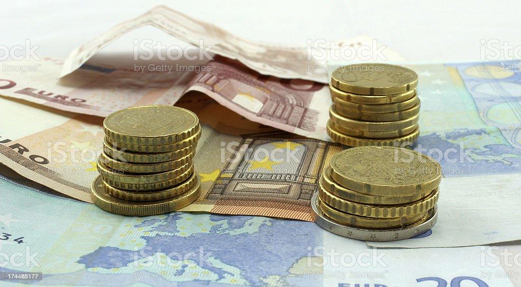 Pi?ces et billets Euros stock photo