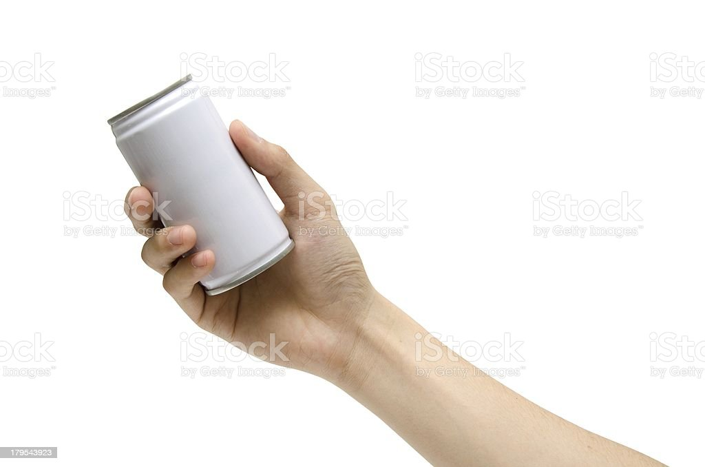 pick a can (isolated) stock photo