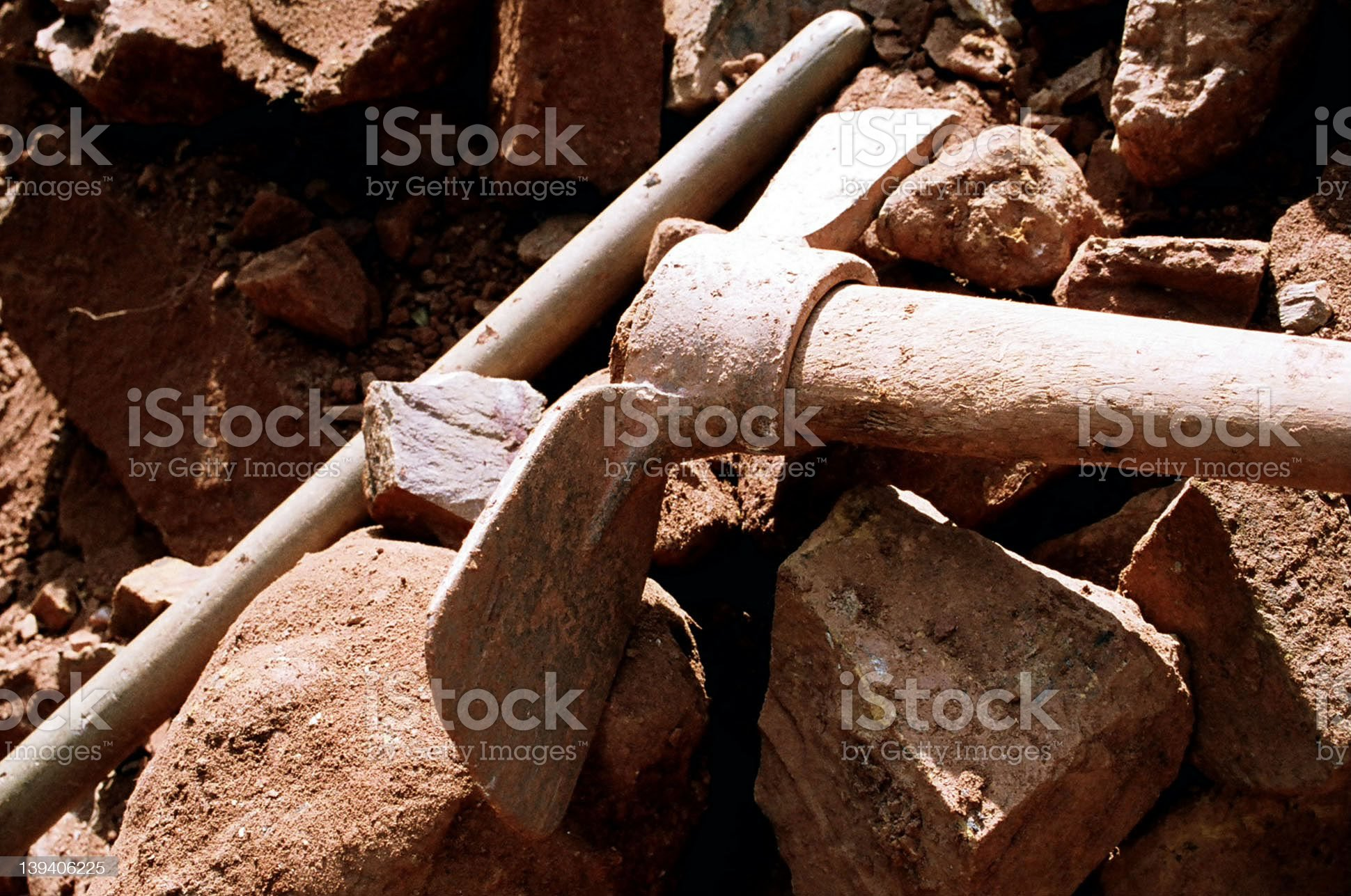 Pick Axe and Rocks royalty-free stock photo