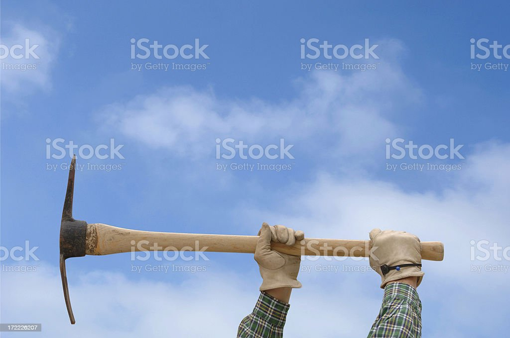 Pick Axe Digging with Path royalty-free stock photo