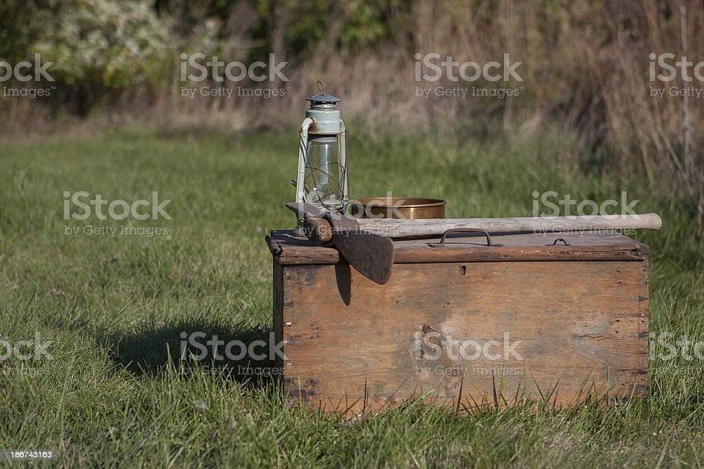 pick box and lantern background stock photo