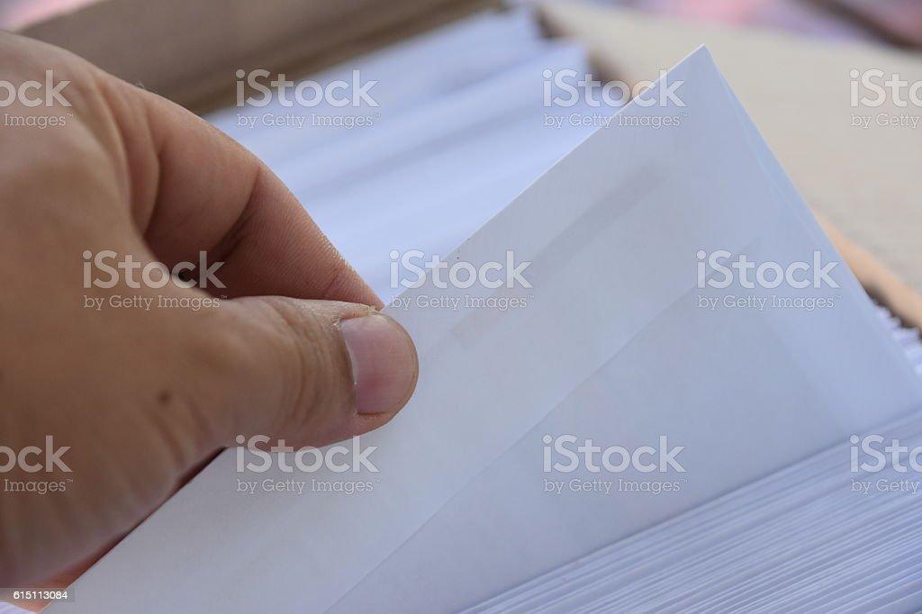 Pick, choose an envelope stock photo