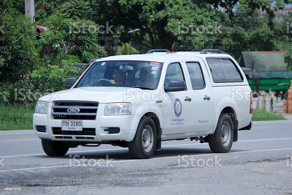 Pick up truck car of Provincial eletricity Authority of Thailands stock photo