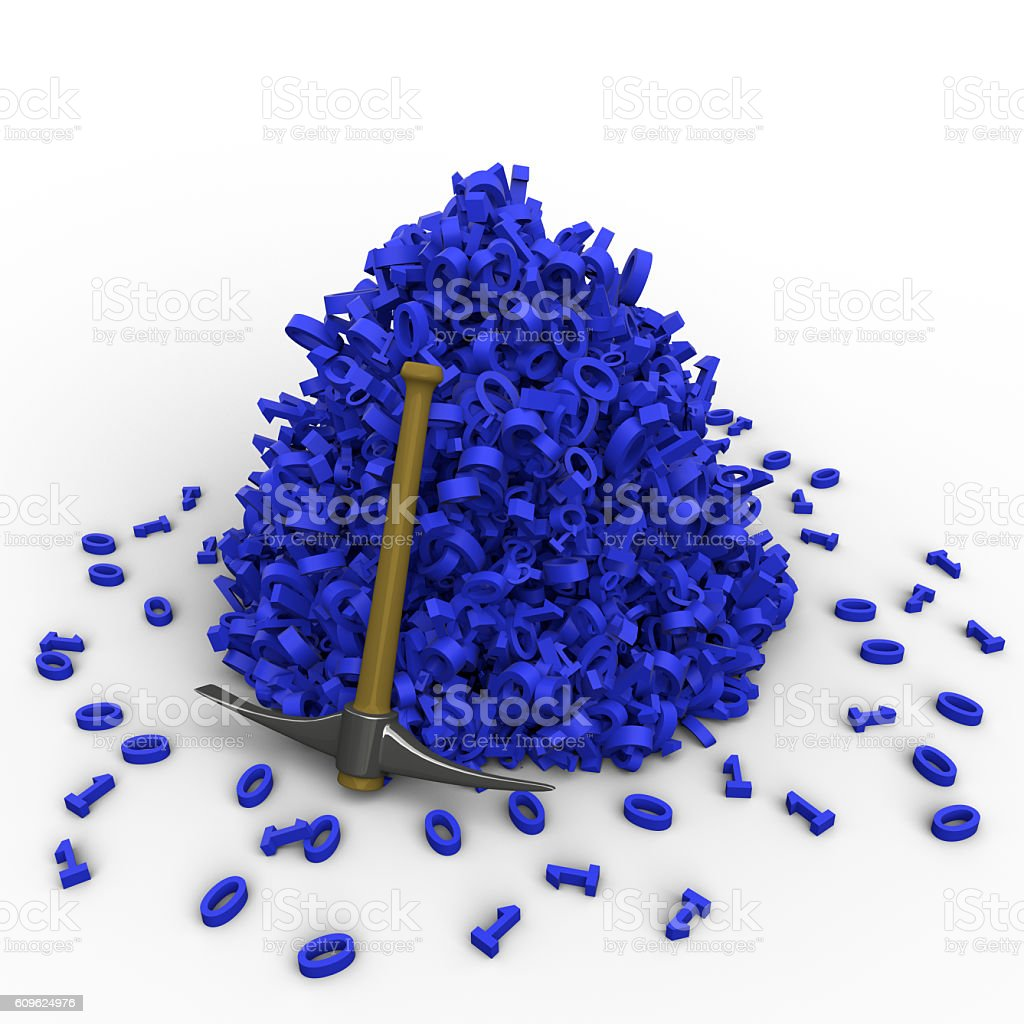 Pickaxe leaning against a pile of data stock photo