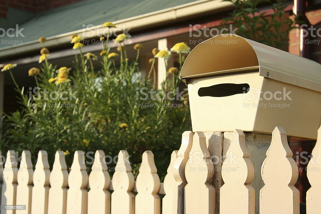 Picket Fence and Mailbox stock photo