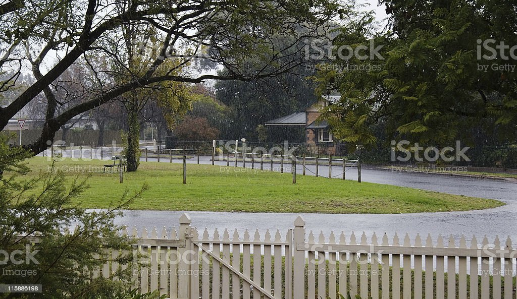 Picket fence and Rain royalty-free stock photo