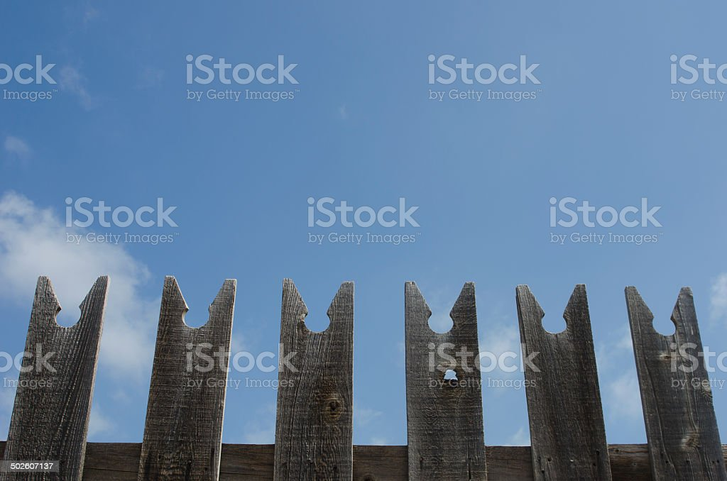 Picket Fence and Sky stock photo