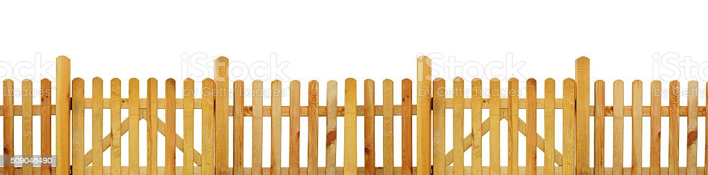 Picket fence, garden fence - isolated stock photo