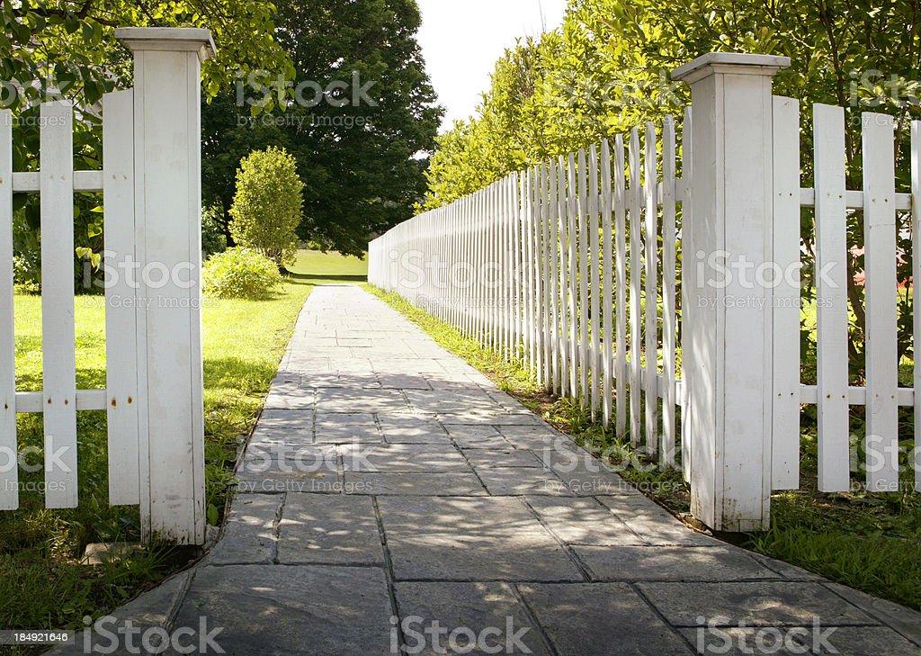 Picket Fence & Walkway stock photo