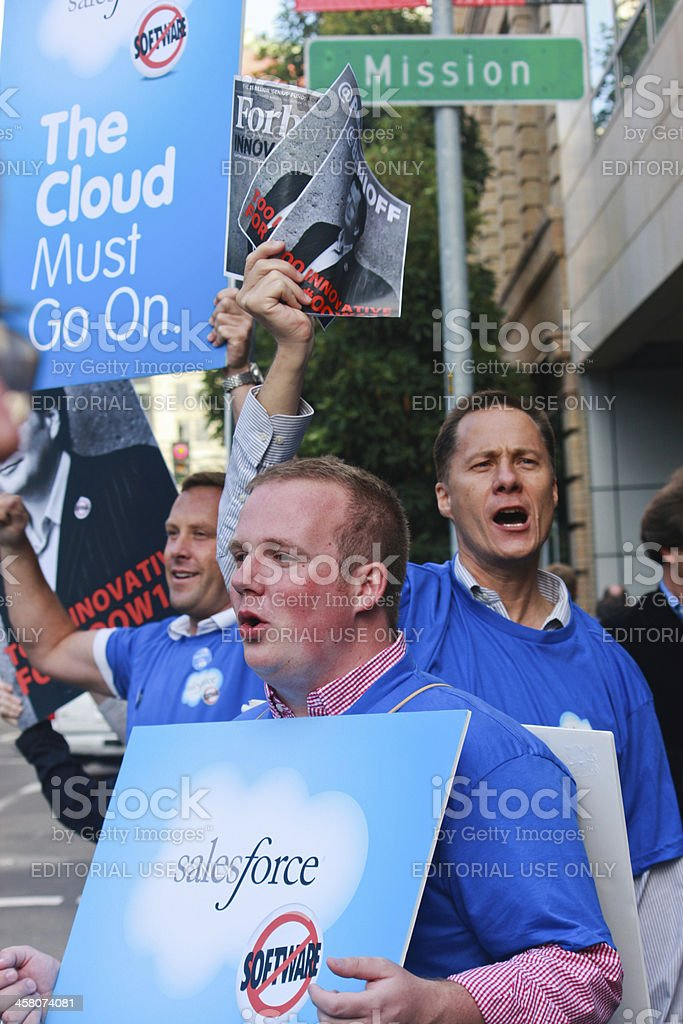 Picket protest against Oracle decision stock photo