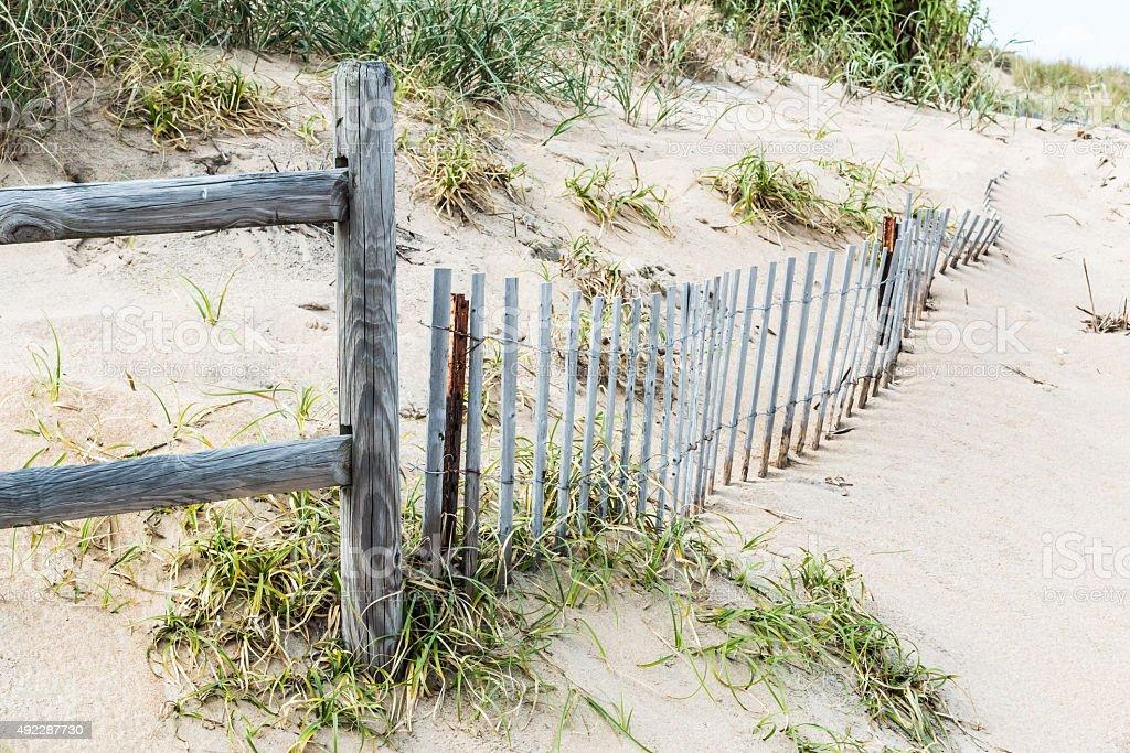 Pickett Fence and Wooden Railing at Sandbridge stock photo