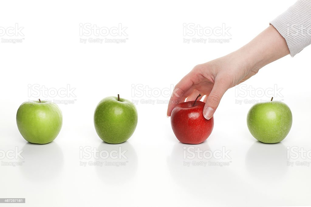 Picking different apple stock photo