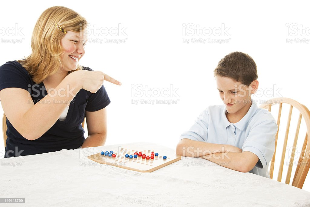 Picking on Little Brother royalty-free stock photo
