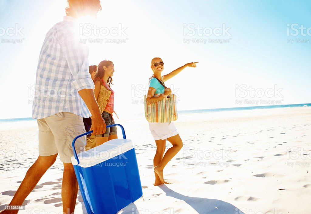 Picking the perfect picnic spot stock photo