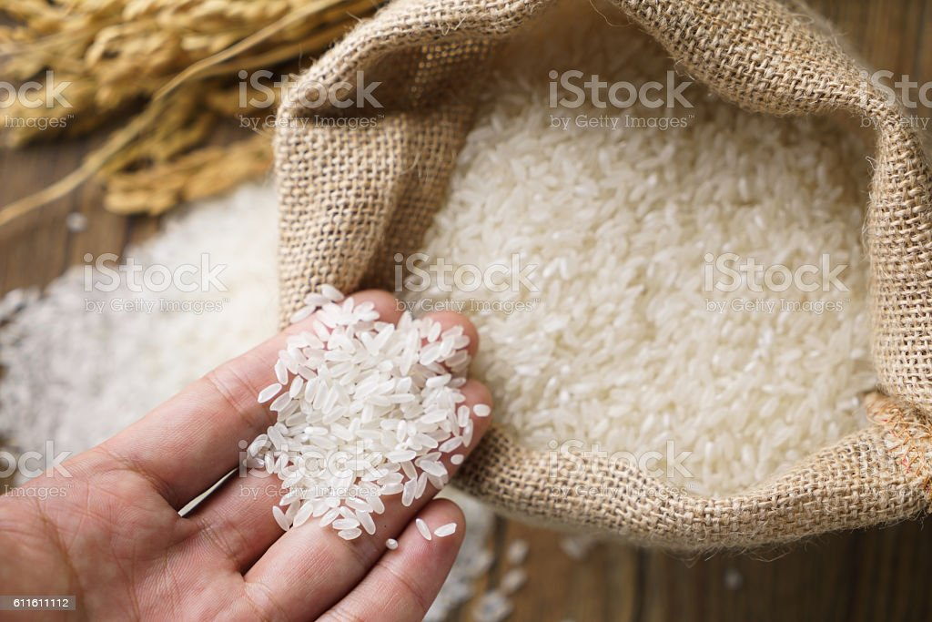 Picking uncooked rice in a small burlap sack stock photo