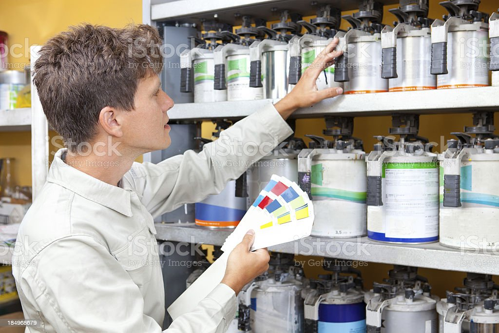 Picking Up Colors for Painting Car. stock photo