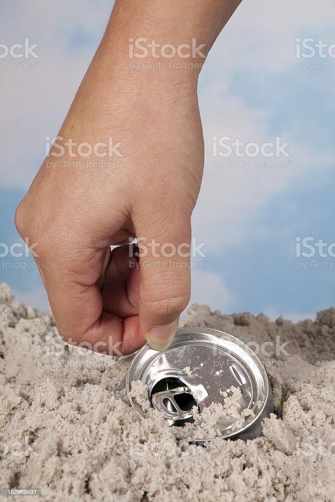 Picking up garbage stock photo