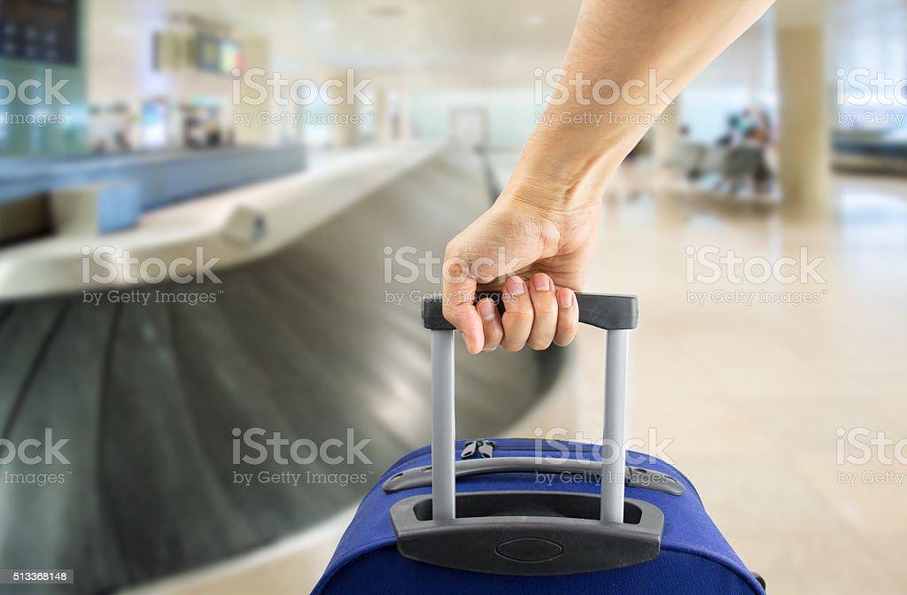 picking up my luggage stock photo