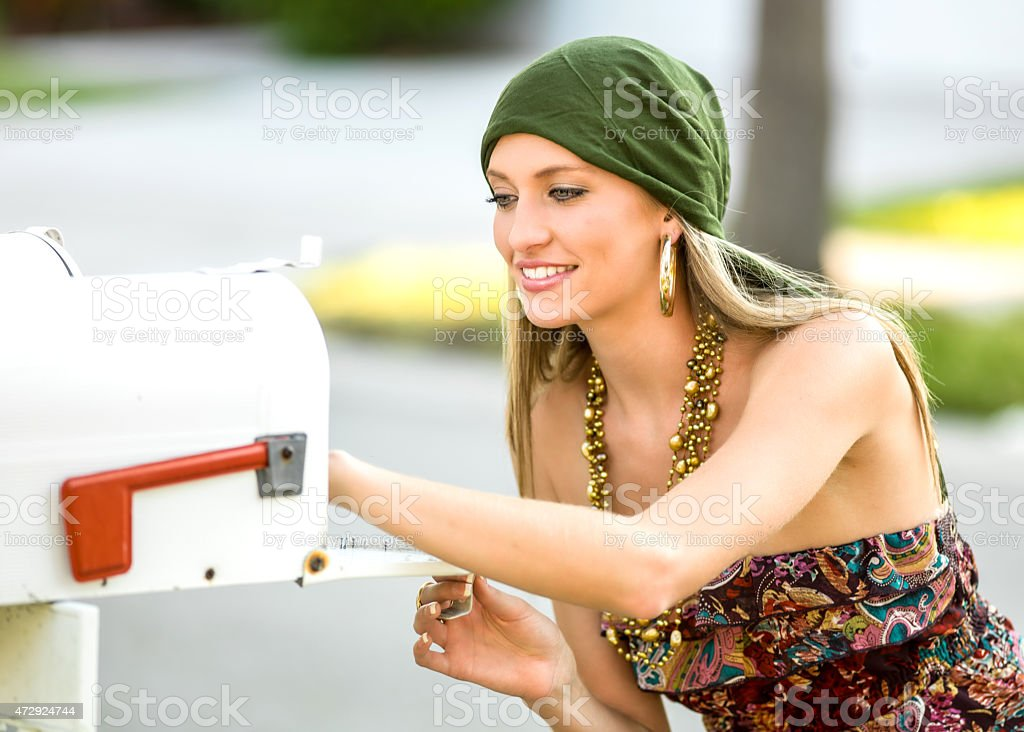 picking up the mail stock photo