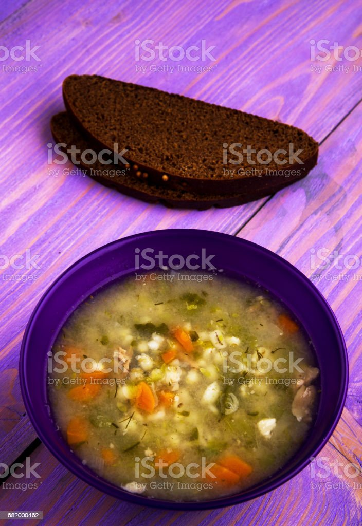 pickle soup .healthy soup .soup top view stock photo