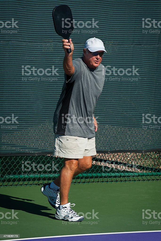 Pickleball Action - Baseline Backhand royalty-free stock photo