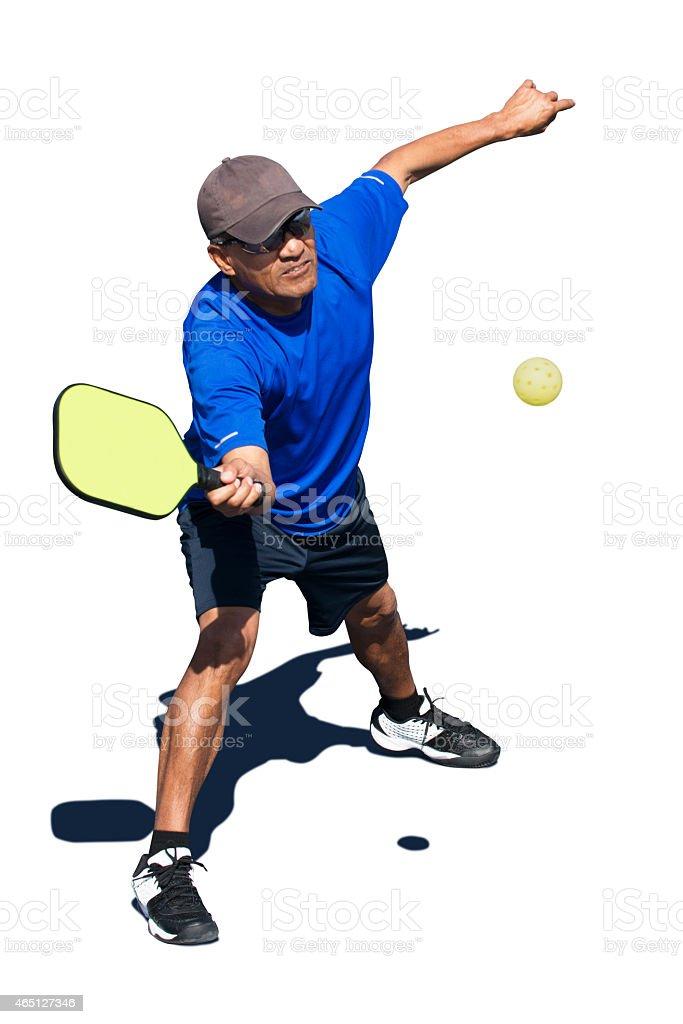 Pickleball Action - Blue Man Forehand stock photo