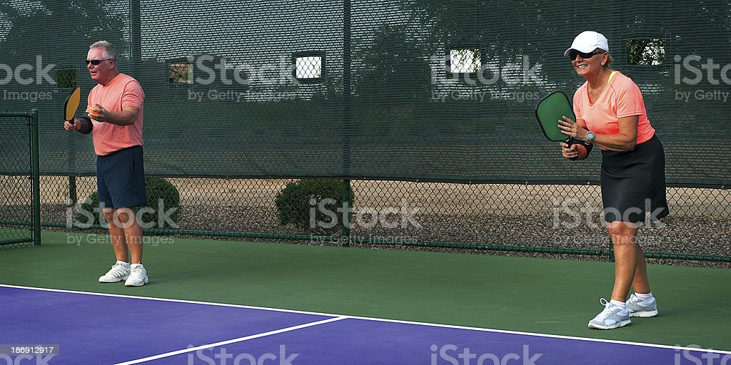 Pickleball - Mixed Doubles Partners Ready to Begin Match royalty-free stock photo