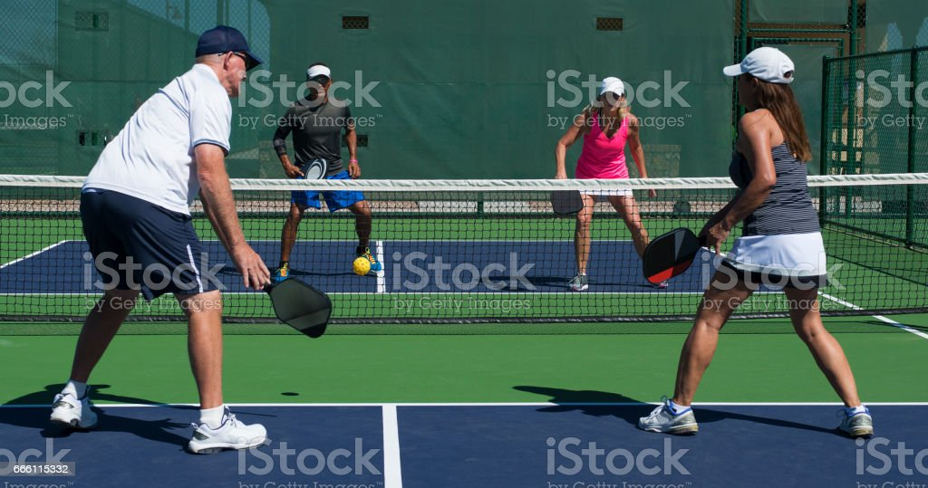 Pickleball - Mixed Doubles Play stock photo