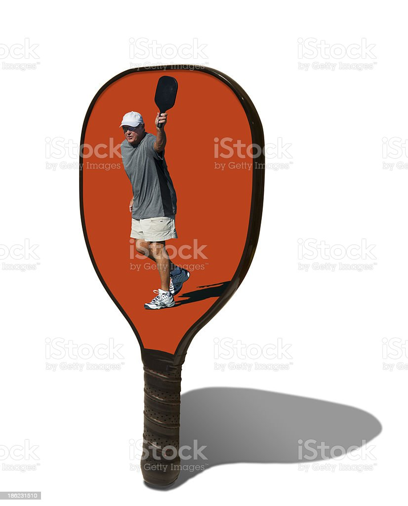 Pickleball Paddle with Male Player on Face royalty-free stock photo