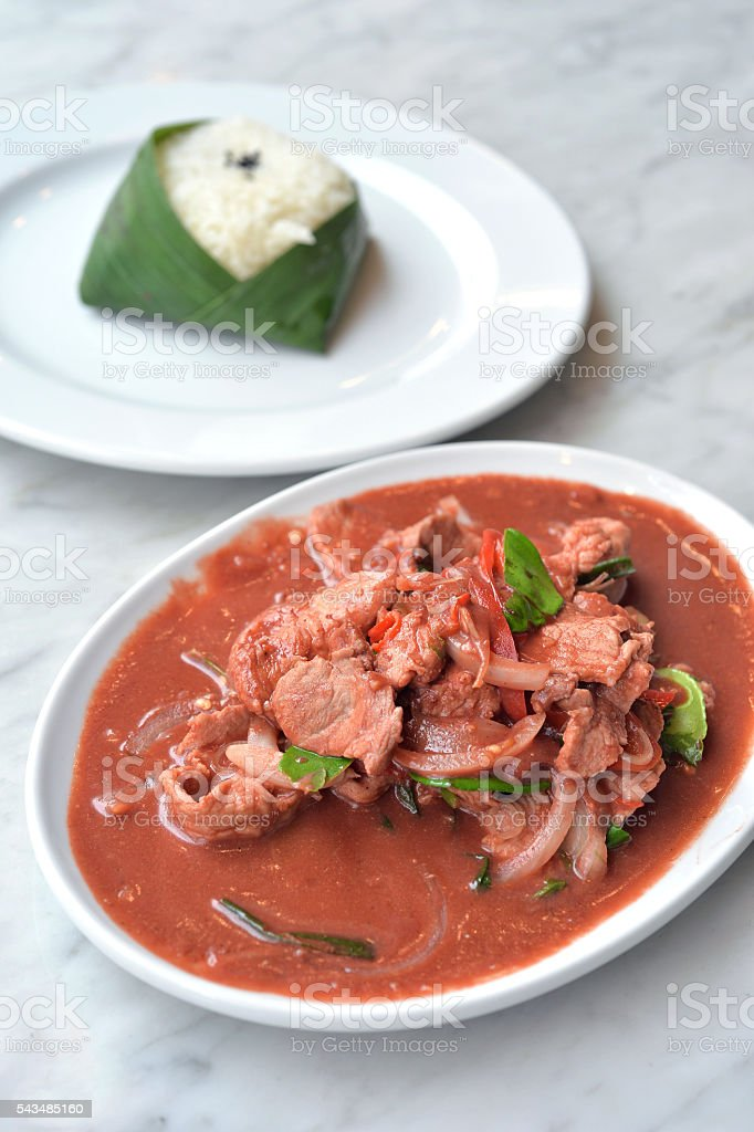 Pickled bean curd with pork stock photo