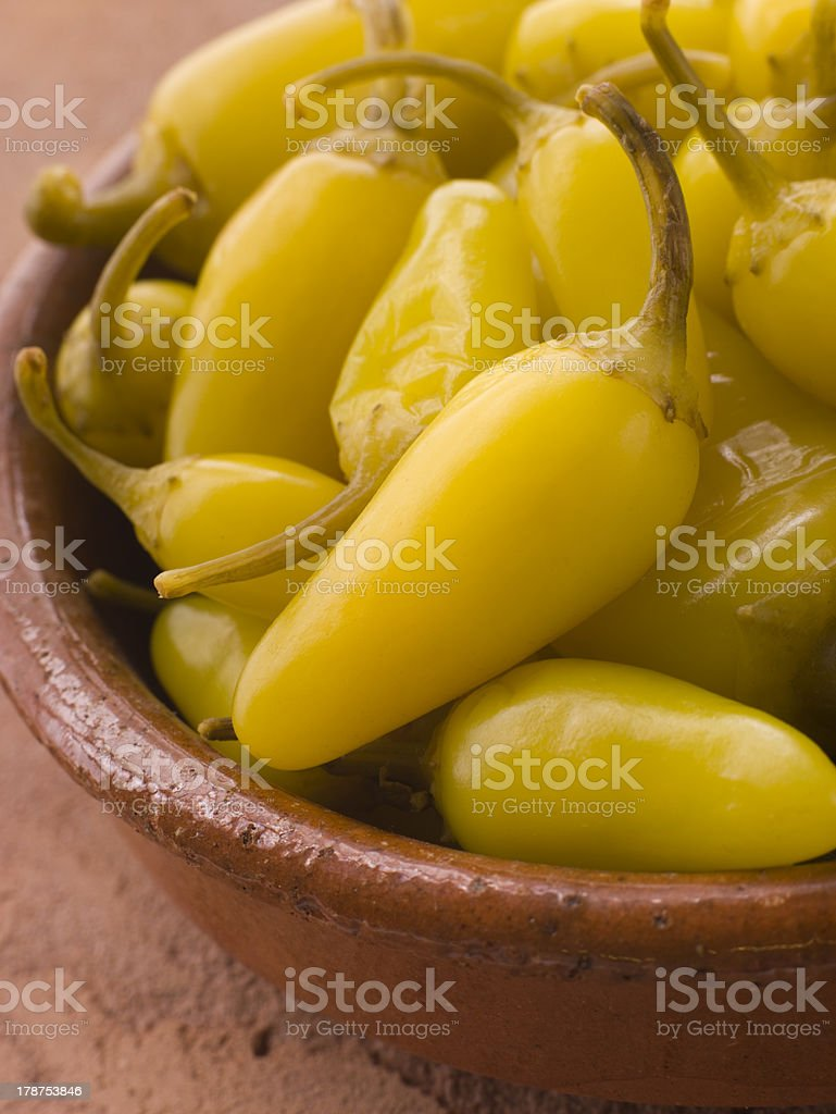 Pickled Californian Chillies in a Dish royalty-free stock photo