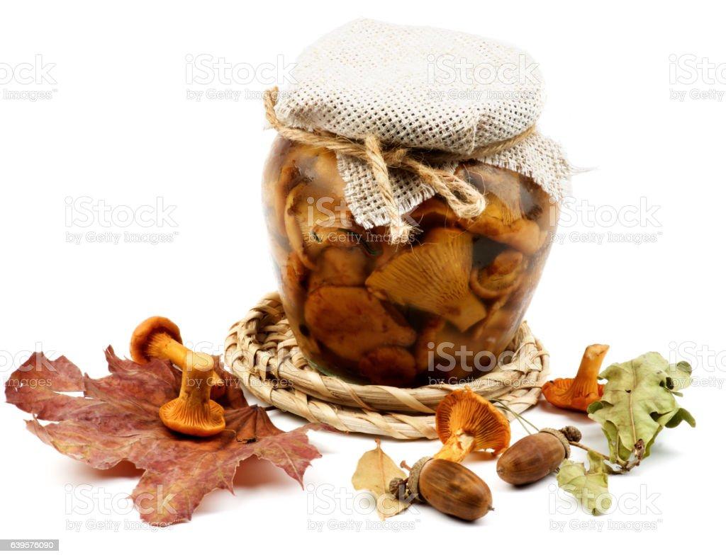 Pickled Chanterelle Mushrooms stock photo